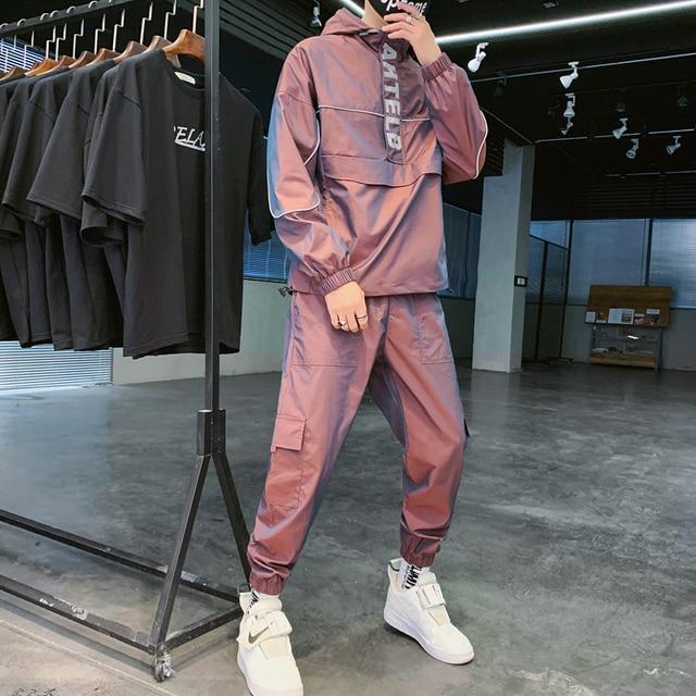 2021 Workwear jacket men's Hooded Jacket+Pants 2PC Sets  baseball  loose Pullover coat & Long Pants Mens Clothing 4