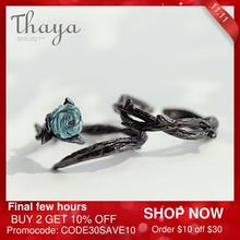 Thaya Rose Doornen S925 Zilveren Ringen Blue Crystal Rose Bloem Vintage Plant Valentijnsdag Geschenk Voor Vrouwen Knoop Zwarte Fijne sieraden