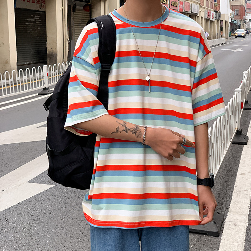funny striped T-<font><b>shirt</b></font> 2020 hot sale new <font><b>Korean</b></font> <font><b>style</b></font> <font><b>oversized</b></font> hipster retro versatile short sleeve clothes hip hop Casual top image