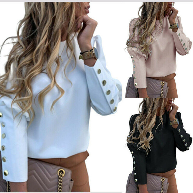 2020 Work Wear Women Blouses Long Sleeve Back Metal Buttons Shirt Casual O Neck Printed Plus Size Tops Fall Blouse Drop Shipping 6