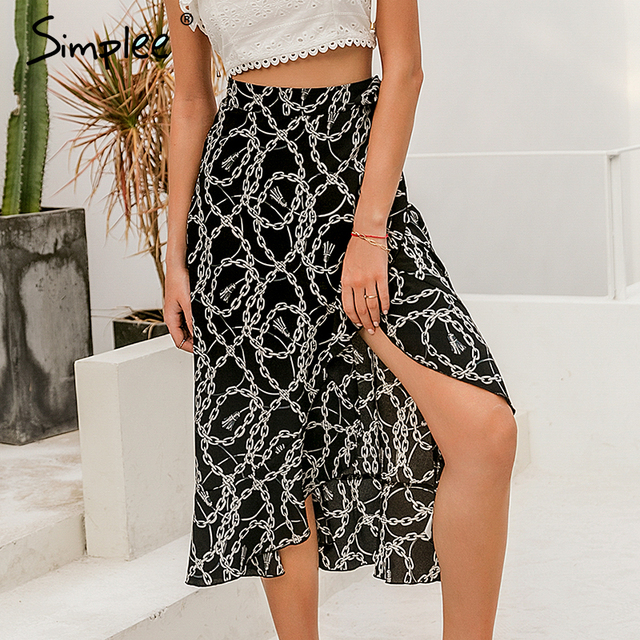 Simplee Fashion chain print women midi skirt Elegant lace up mid waist female wrap skirt Spring summer chic ladies skirts bottom 2