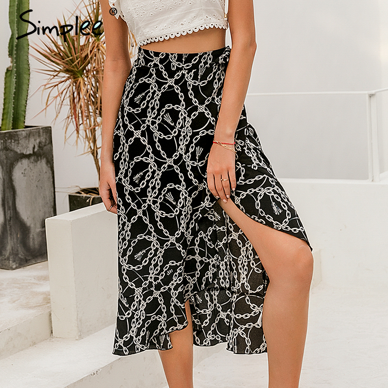 Image 4 - Simplee Fashion chain print women midi skirt Elegant lace up mid waist female wrap skirt Spring summer chic ladies skirts bottomSkirts   -
