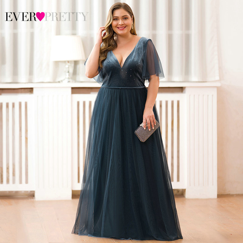 Plus Size Dusty Blue Prom Dresses Ever Pretty A-Line Double V-Neck Short Ruffles Sleeve Tulle Elegant Party Gowns Gala Jurken
