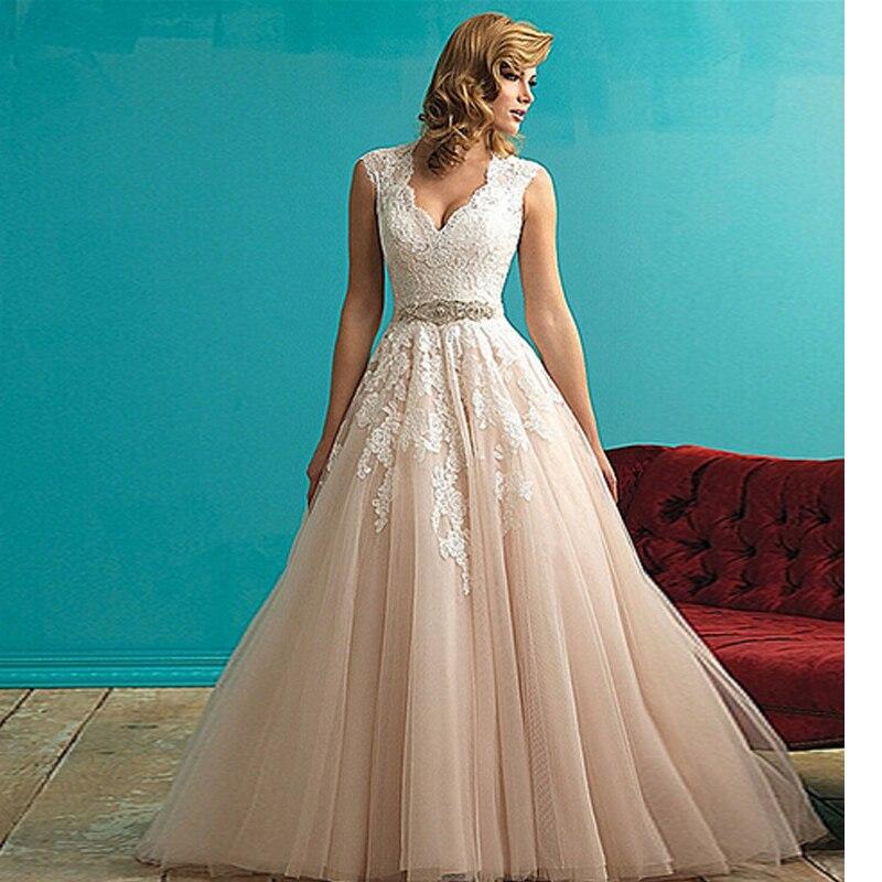 Romantic Vestido De Novia V-neck Beading Cap Sleeves Chapel Train Fashion A-line Wedding Dress 2015