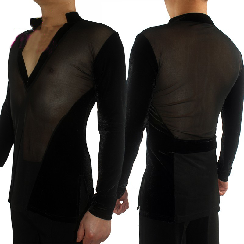 New Men Latin Dance Competition Shirt 2019 Male Sexy Gauze Tops Professional Stage Costume Ice Skating Performance Shirts VDB847