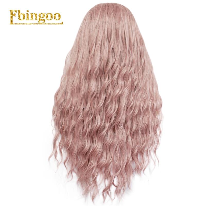 Ebingoo longa onda profunda peruca sintética branca