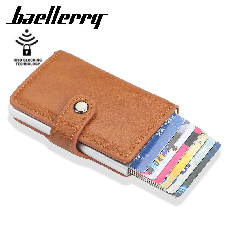 Baellerry New Metal Anti Rfid Wallet Credit Id Card Holder Men Women Business Cardholder Cash Card Pocket Case Passes Creditcard
