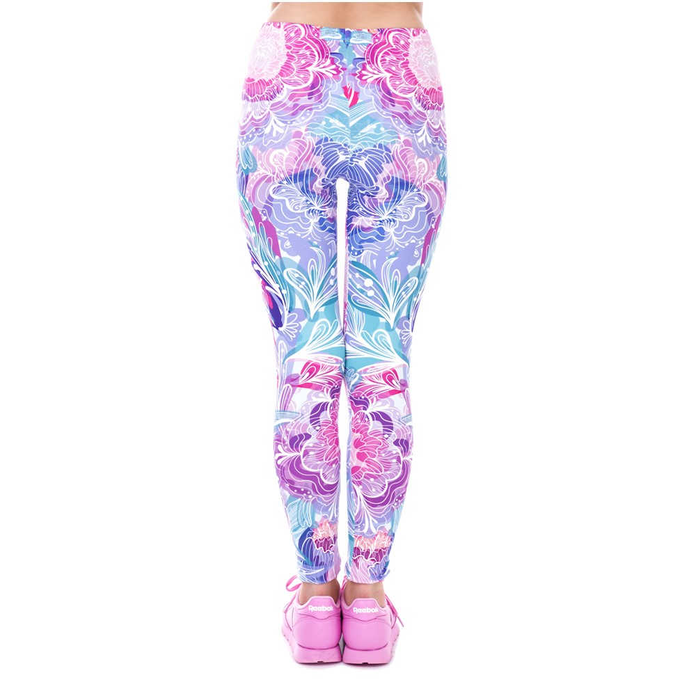 Zohra 봄 패션 여성 Legins 이국적인 보라색 꽃 Legging 우아한 아늑한 높은 허리 여자 레깅스를 인쇄