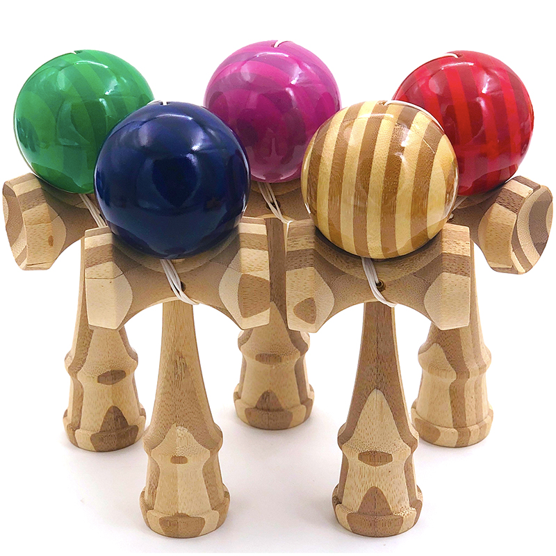 Regular Professional Kendama Bamboo Wooden Toy Outdoor Skillful Juggling Ball Colorful Stripes Stress Ball Education Toy