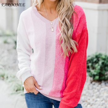 Faroonee Women Long Sleeve V-Neck patchwork Striped Sweater 2020 new Cropped Jumper KnitWear Girl Knitted Pullovers Sweaters Top twist front v neck striped top