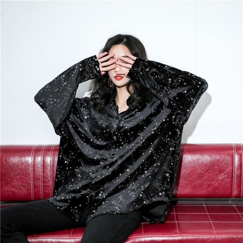 2019 Осень Зима Новая женская рубашка с принтом и отворотом блестящая свободная Модная рубашка с длинным рукавом размера плюс женская улична... - 5