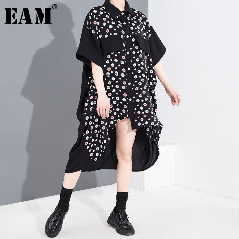 [EAM] Women Black Pattern Printed Back Long Big Size Shirt Dress New Lapel Half Sleeve Loose Fashion Spring Summer 2020 1W003