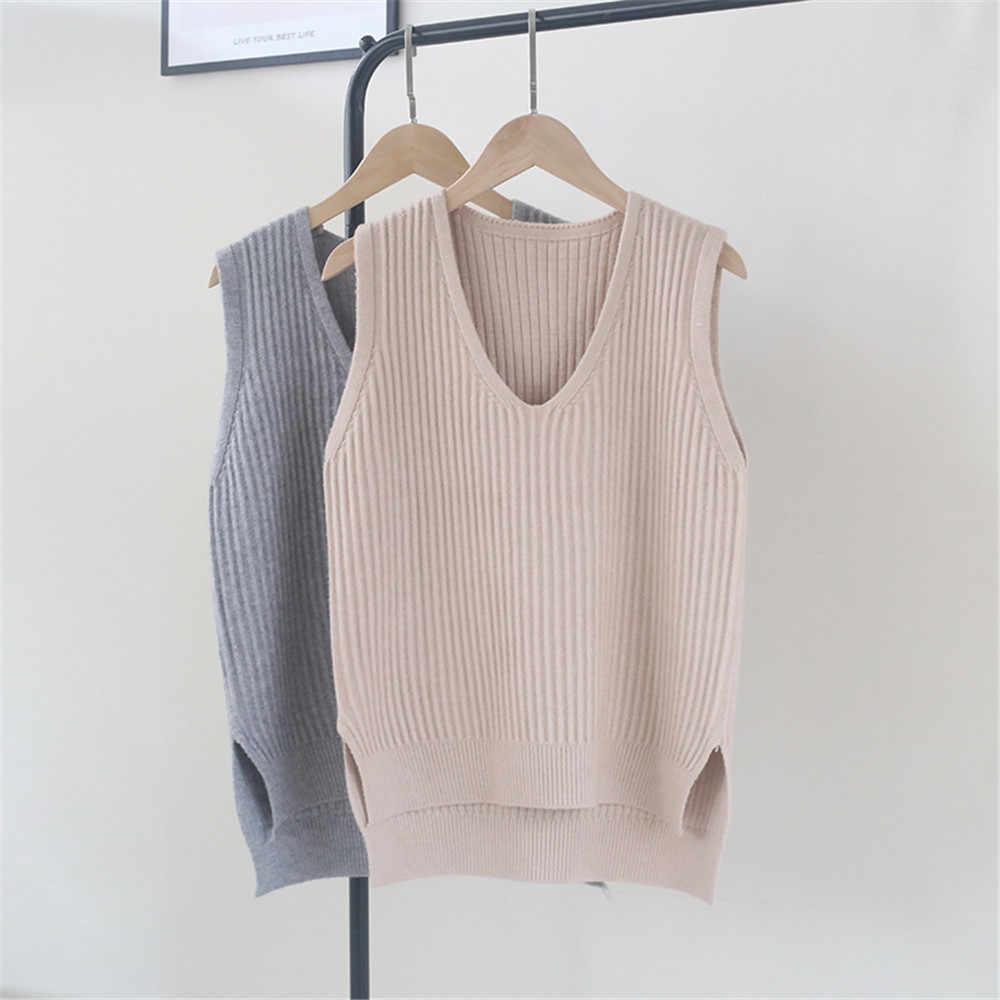 1 Pcs Herfst Vrouwen Trui Vest 2020 Koreaanse Womens Elegante Student V-hals Trui Breien Tops Bovenkleding Vest Roze Zwart