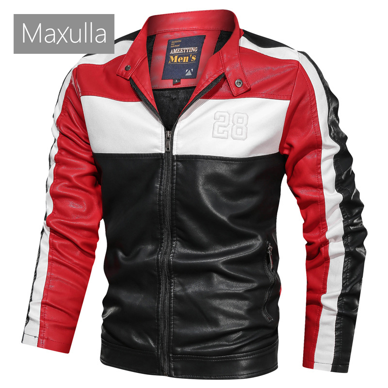 Maxulla Autumn Men's Leather Jackets Casual Mens Outwear Motorcycle PU Leather Jacket Male Slim Fit Biker Leather Coats Clothing