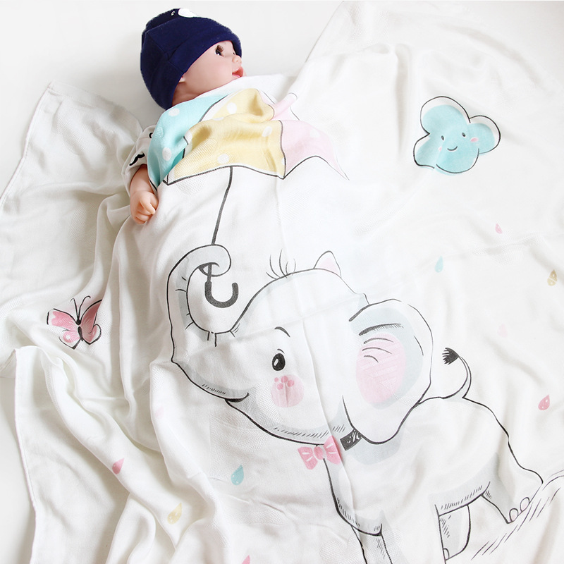 PatPat Soft Elephant Print Double-layer Baby Blanket Cotton Leisure Animal Picture White 110*110cm