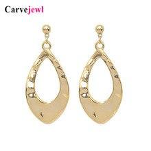 Carvejewl short earrings simple metal hollow out pendant drop dangle romantic Korean plastic hook anti allergy