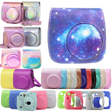 For Fujifilm Instax Mini 8/9 Instant Film Camera Case Bag, PU Leather Cover with Shoulder Strap