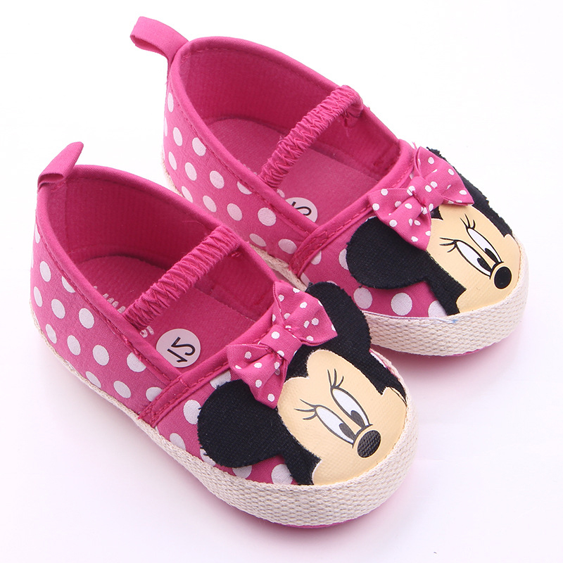 0-18 Months Cute Minnie Baby Girl Shoes Newborn Girl Baby Princess Shoes Bowknot Polka Dot Flower Soft-Soled Crib Shoe