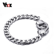 Vnox Handcuff Bracelet for Women / Men Promise Jewelry Stainless Steel Chain High Quality(China)