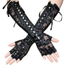 Sexy lace binding gloves long appeal ribbon rivet half finger etiquette ball