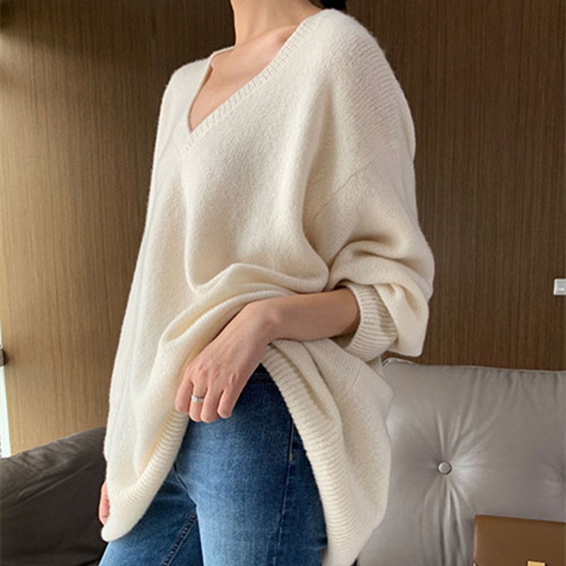 Smpevrg Cashmere Sweater Women Sweaters And Pullovers Long Sleeve V-neck Loose Female Pullover Women Knitted Jumpers Pull Femme