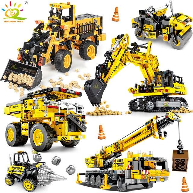 HUIQIBAO הנדסת דחפור מנוף טכני Dump משאית אבני בניין עיר בניית רכב רכב צעצוע לילדים ילדים מתנה