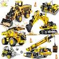 HUIQIBAO Engineering Bulldozer Kran Dump Lkw Bausteine Stadt Bau Fahrzeug Auto Ziegel Spielzeug Für Kinder Geschenk