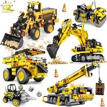 HUIQIBAO Engineering Bulldozer Crane Dump Truck Technical Building Blocks City Construction Vehicle Car Bricks Toy For Children