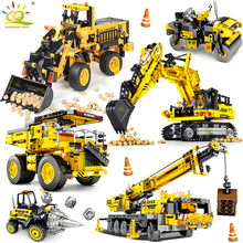 HUIQIBAO Engineering Bulldozer Crane Technic Dump Truck Building Blocks City Construction vehicle car Toy For Children kids gift cheap HUIQIBAO TOYS Unisex 6 years old Small building block(Compatible with Lego) 6944811380453 Certificate Technic Truck