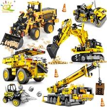 HUIQIBAO grúa Bulldozer de ingeniería volquete técnico, camión de bloques de construcción, vehículo de construcción de ciudad, coche de juguete para niños, regalo