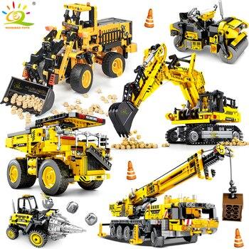 HUIQIBAO ingeniería Bulldozer Crane Technic volquete camión de bloques de construcción ciudad vehículo de construcción coche de juguete para niños regalo