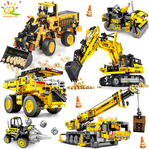 Image 1 - HUIQIBAO jouet pour enfant de véhicules de Construction, cadeau pour enfant, blocs de Construction de villes, grue et Bulldozer, camions à benne basculante