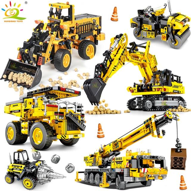 HUIQIBAO jouet pour enfant de véhicules de Construction, cadeau pour enfant, blocs de Construction de villes, grue et Bulldozer, camions à benne basculante