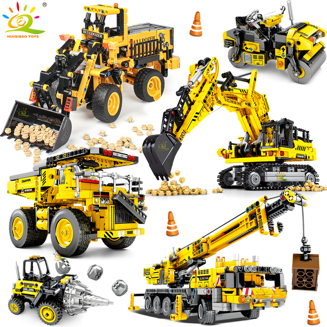 Huiqibao Techniek Bulldozer Kraan Technic Dump Truck Bouwstenen Stad Bouw Voertuig Auto Speelgoed Voor Kinderen Kids Gift