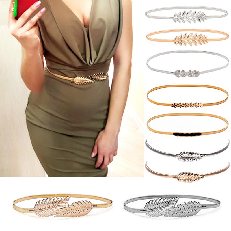 Flower Leaf Shape Belts For Women Wedding Designer Elastic Girl Stretch Skinny Waist Belt Cummerbunds Metal Female Belt ceinture