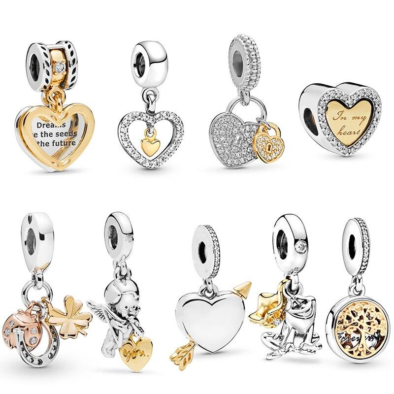 2Pcs Two color Combinable Charm Bead Pendant,DIY Male Female Couple Bracelet,For Brand Bracelet Bracelet Necklace Gift Making charms  - AliExpress