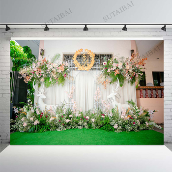 wedding background the blue sky and white clouds party photo backdrops tree flower chair background for photographic studio Flower Deer Wedding Background Stand Marriage Party Custom Vinyl Photography Backdrops for Photo Studio Photographic Photocall