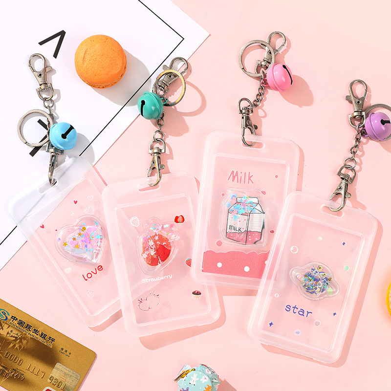 Lovely Pink Color Card Holders Stationery Transparent Plastic Bank ID Bus Card Holder Nurses Employee's Card Case Badge Clip