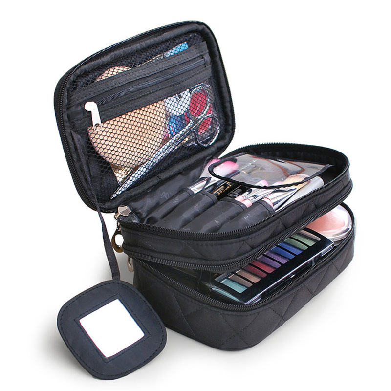 Brand Organizer Cosmetic Bag Double Waterproof Makeup Bag Travel Organizer Cosmetologist Case Multi-function Storage Bag QE128