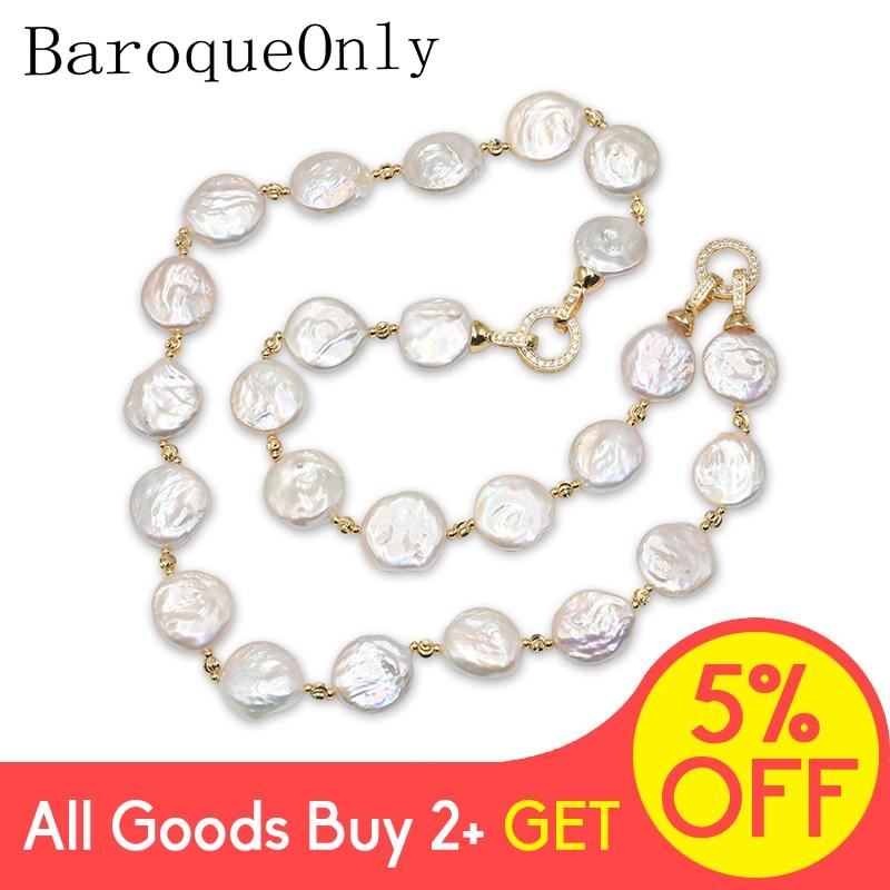 BaroqueOnly forma especial perla Natural estilo barroco moneda perla blanca collar Cadena de suéter/pulsera/gargantilla hebilla de iluminación