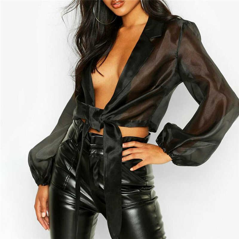 Nowa damska bluzka z długim rękawem z długim rękawem 2019 nowa czarna różowa siatkowana koszula moda damska z dekoltem w serek krótkie bluzki bluzka damska Blusas