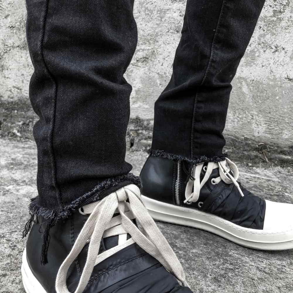 ผู้ชาย BIKER Skinny กางเกงยีนส์สีดำล้างทำลาย DENIM กางเกงยีนส์ Hip Hop PIN SLIM FIT กางเกงยีนส์ดินสอ Urban เสื้อผ้า