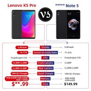 Image 2 - 글로벌 버전 lenovo k5 pro 6 gb 64 gb snapdragon636 octa core 스마트 폰 4 개의 카메라 5.99 인치 fhd 4g lte 4050 mah 배터리