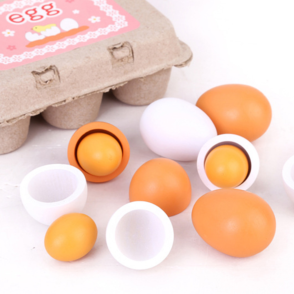 6PCS Simulation Toys Wooden Egg Duck Egg Group Boxed Children Wooden Toy Egg For Kids Early Development Simulation Toy Egg HOt