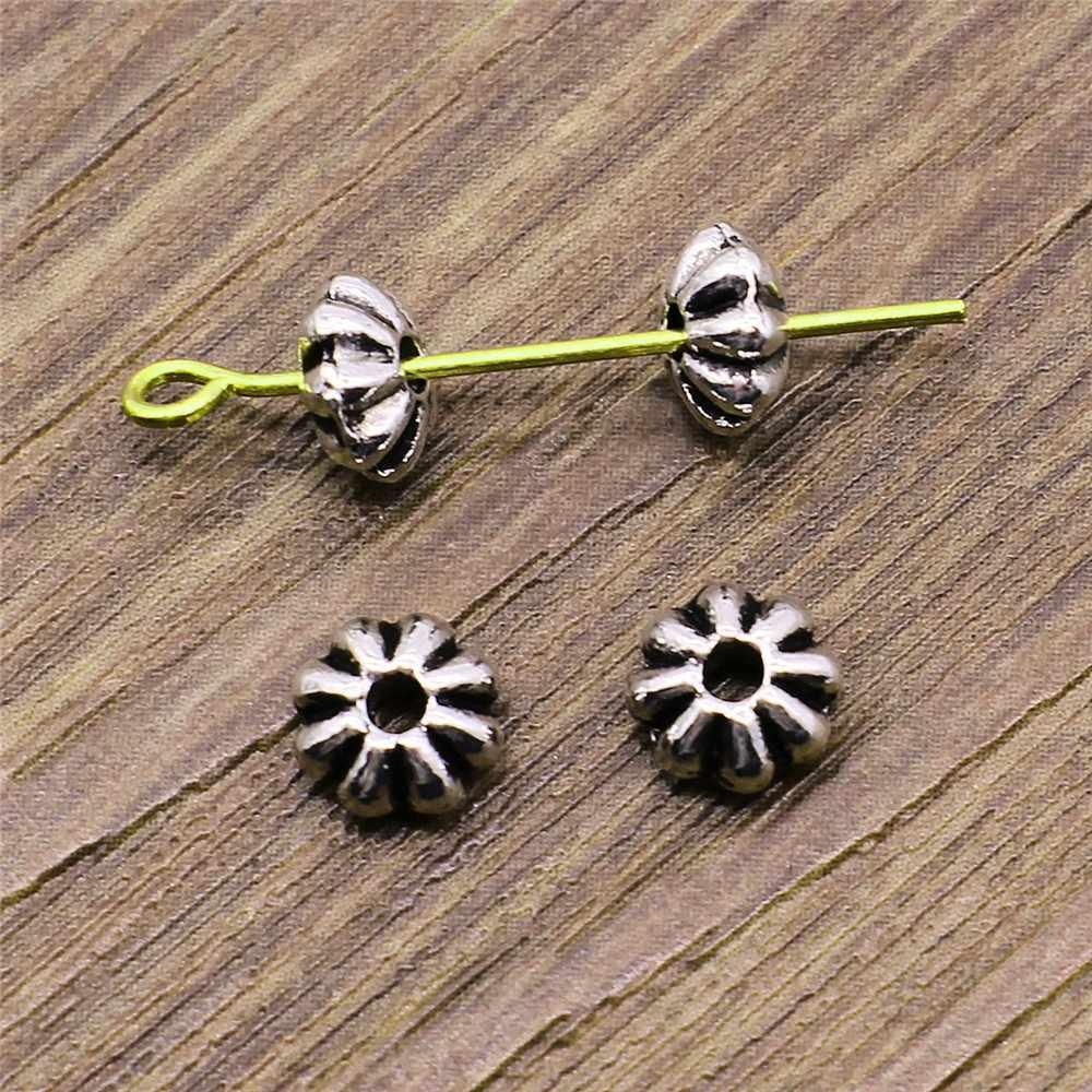 Spacer Beads DIY Perhiasan Temuan Aksesoris Pesona 30 Pcs/lot Warna Perak Antik 6 Mm Diy Handmade Tibet Menemukan Perhiasan