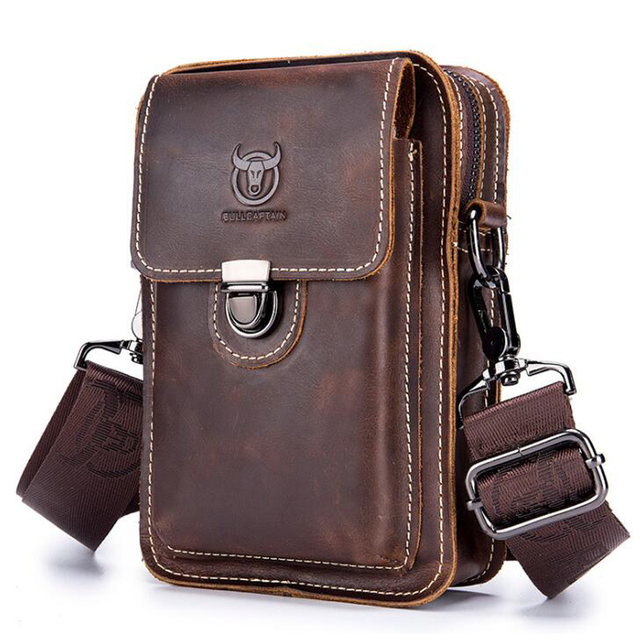 BULLCAPTAIN Crazy horse leather Male Waist Packs Phone Pouch Bags Waist Bag Mens Small chest Shoulder Belt Bag small back pack
