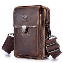Bullcaptain crazy horse pacotes de cintura masculina de couro bolsa de telefone sacos de cintura pequena caixa de ombro saco de cinto pequeno pacote de volta