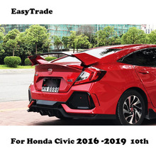 цена на Car Rear Trunk Wing Spoiler High Quality ABS Material Car Rear Wing Primer Color Rear Spoiler For Honda Civic 2016 -2019