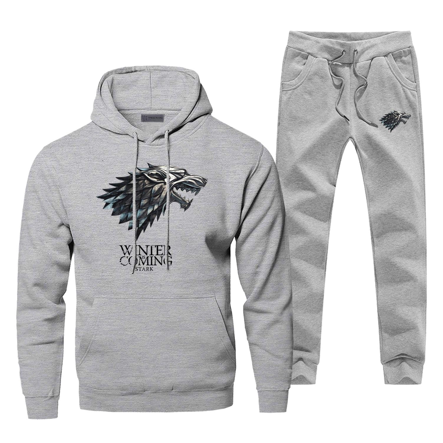 Game Of Thrones Mens Hoodies Pants 2Pieces Sets Winter Is Coming Print Hoodie Casual Sweatshirt Men Fleece Sportswear Sweatpants