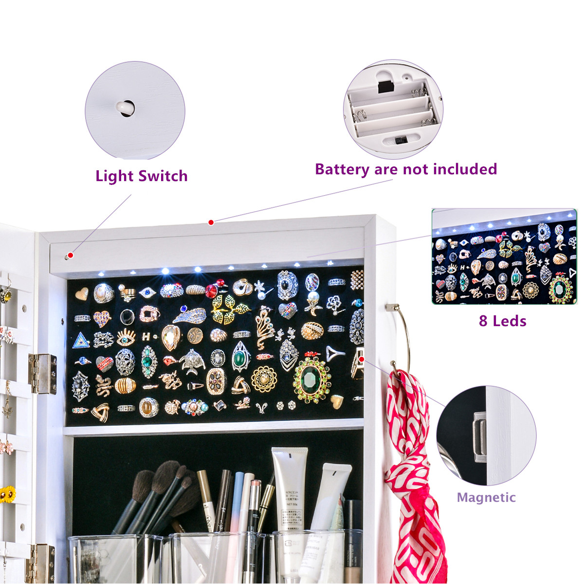 Multifunctional LED Jewelry Mirror Cabinet Wall Door Mounted Jewelry Cabinet Lockable Armoire Organizer Dresser Mirror with LED 4